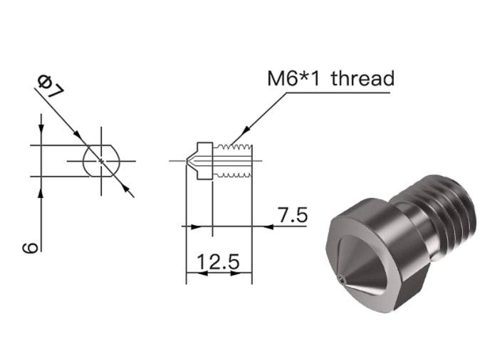 Hardened Steel Die Steel Nozzle 1.75mm